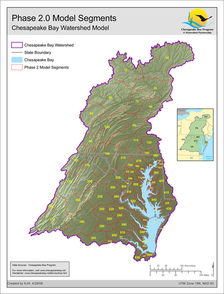 Phase 2.0 Model Segmentation, Chesapeake Bay Watershed Model