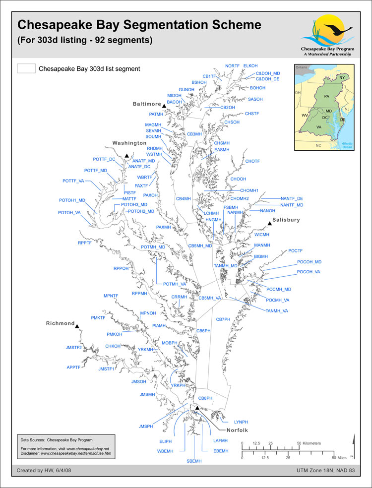 <strong>Chesapeake Bay Segmentation Scheme (For 303d listing - 92 segments)</strong><br />The 92-segment scheme for the Chesapeake Bay and its tidal tributaries used for dissolved oxygen and water clarity assessments in the most recent 303d/305b listing efforts of the four Bay tidal jurisdictions is documented here. The 92-segment scheme was derived from 1) the 2003 published 78-segment scheme with the addition of jurisdictional boundary lines imposed to create 89-segments, then 2)…