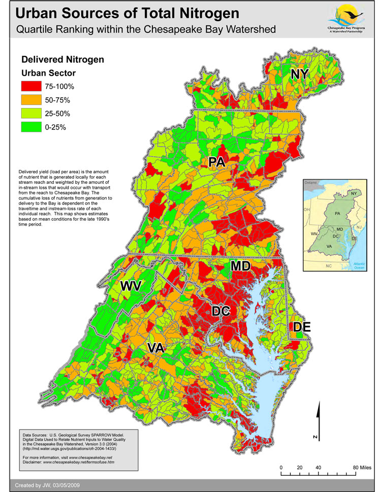 Urban Sources of Total Nitrogen - Quartile Ranking within the Chesapeake Bay Watershed