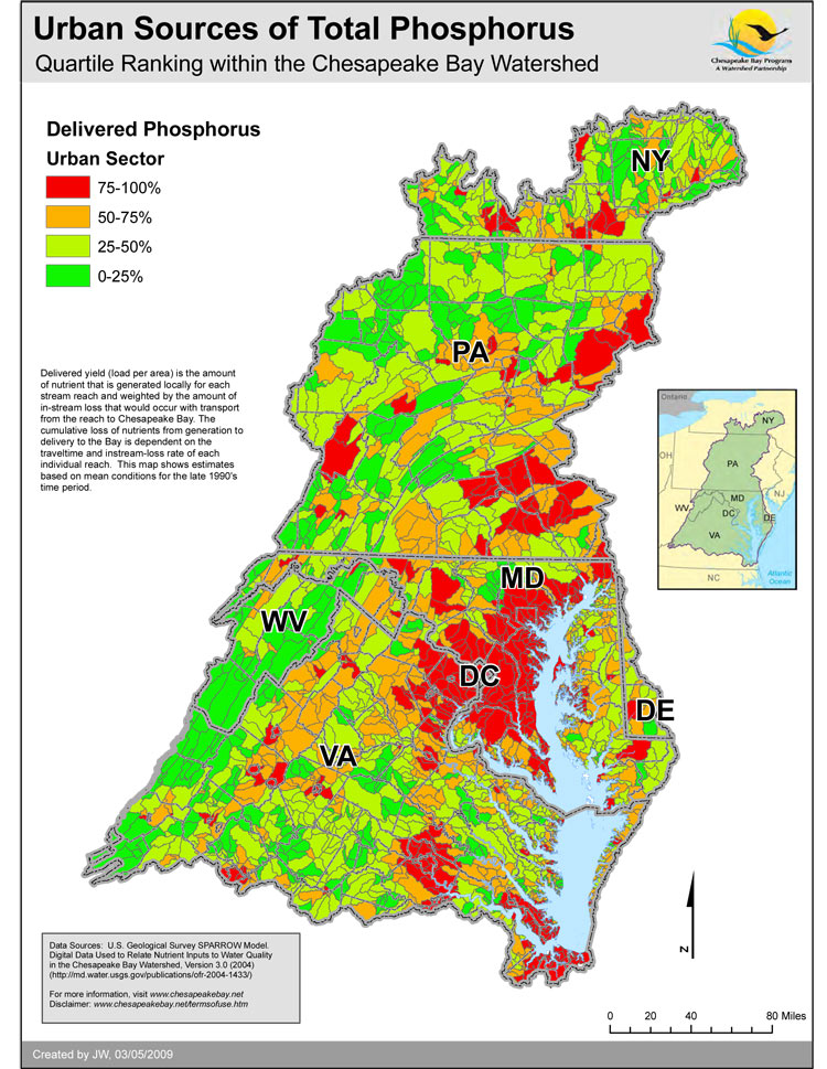 Urban Sources of Total Phosphorus - Quartile Ranking within the Chesapeake Bay Watershed
