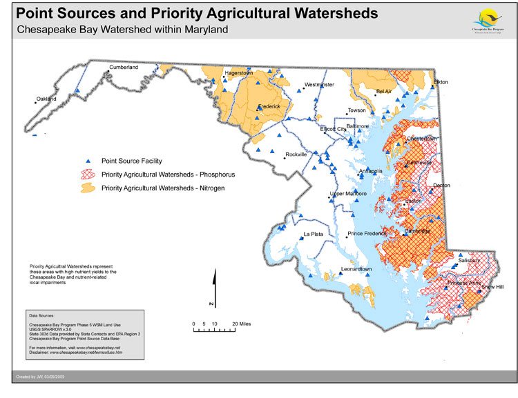 <strong>Point Sources and Priority Agricultural Watersheds - Maryland</strong><br />This map shows the location of point sources of nutrient pollution and priority agricultural watersheds as identified by the Chesapeake Bay Program with input from the Natural Resources Conservation Service (NRCS).  Point sources include both monitored and estimated data submitted from or approved by each jurisdiction.  Priority agricultural watersheds include SPARROW catchments ranking in the…