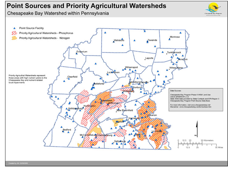 Point Sources and Priority Agricultural Watersheds - Pennsylvania