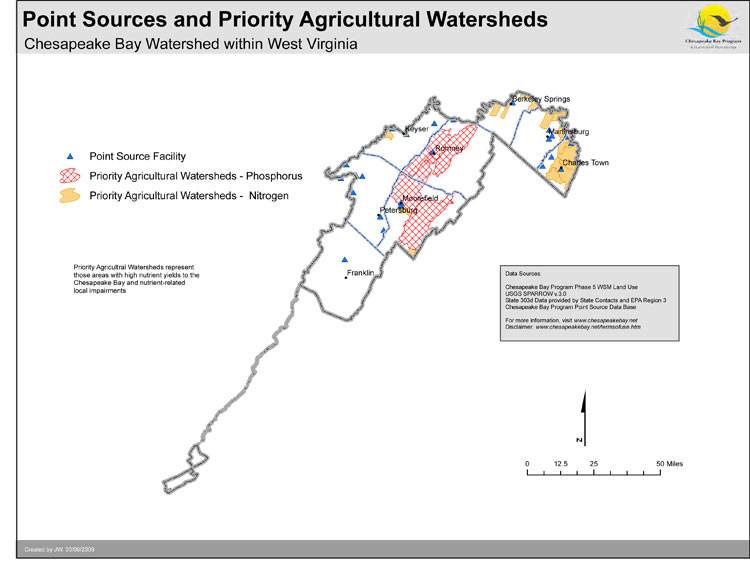 Point Sources and Priority Agricultural Watersheds - West Virginia
