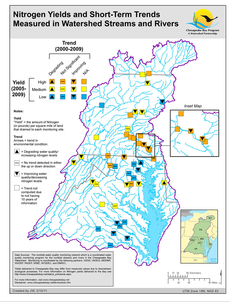 Nitrogen Yields and Short-Term Trends Measured in Watershed Streams and Rivers