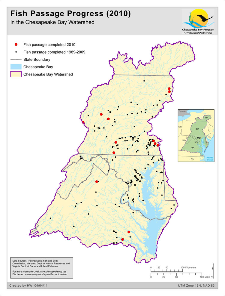 Fish Passage Progress (2010) in the Chesapeake Bay Watershed