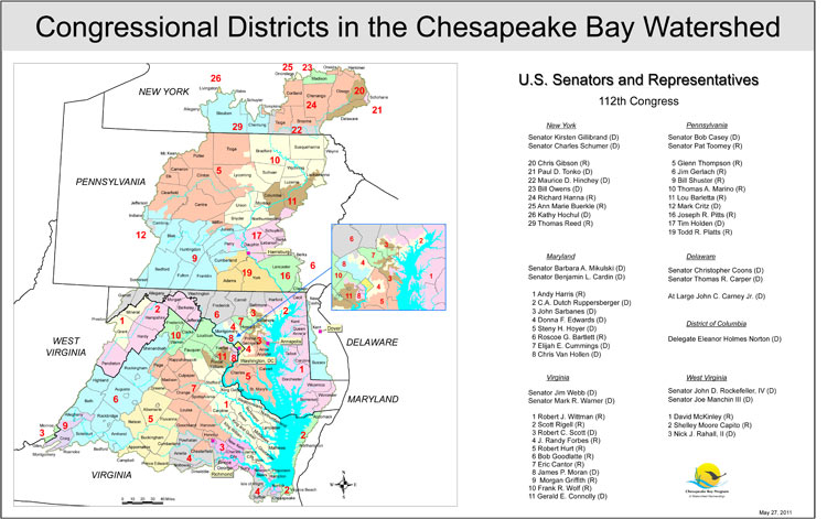 <strong>Congressional Districts in the Chesapeake Bay Watershed</strong><br />This map shows the complete or partial Congressional Districts that make up the area of the Chesapeake Bay basin.  The current senators and congressional members of the 112th Congress who have districts within the borders of the basin are listed by state.