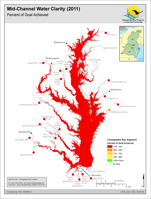 <strong>Mid-Channel Water Clarity (2011)</strong><br />This map shows the percent of the Water Clarity goal achieved for each Chesapeake Bay Segment in 2011.