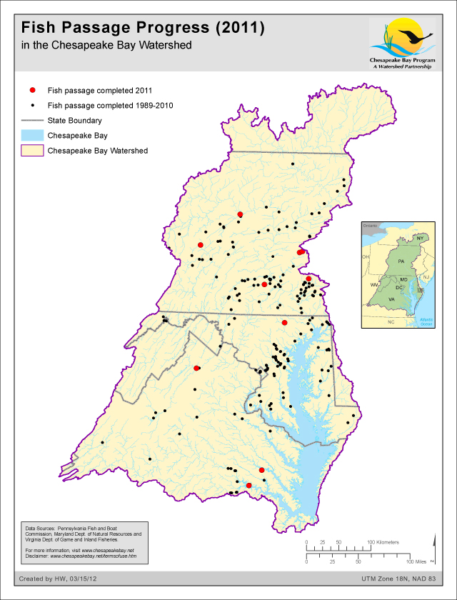 Fish Passage Progress (2011) in the Chesapeake Bay Watershed