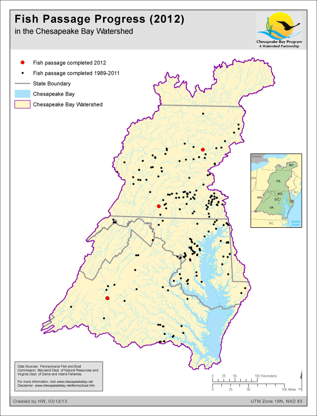 Fish Passage Progress (2012) in the Chesapeake Bay Watershed
