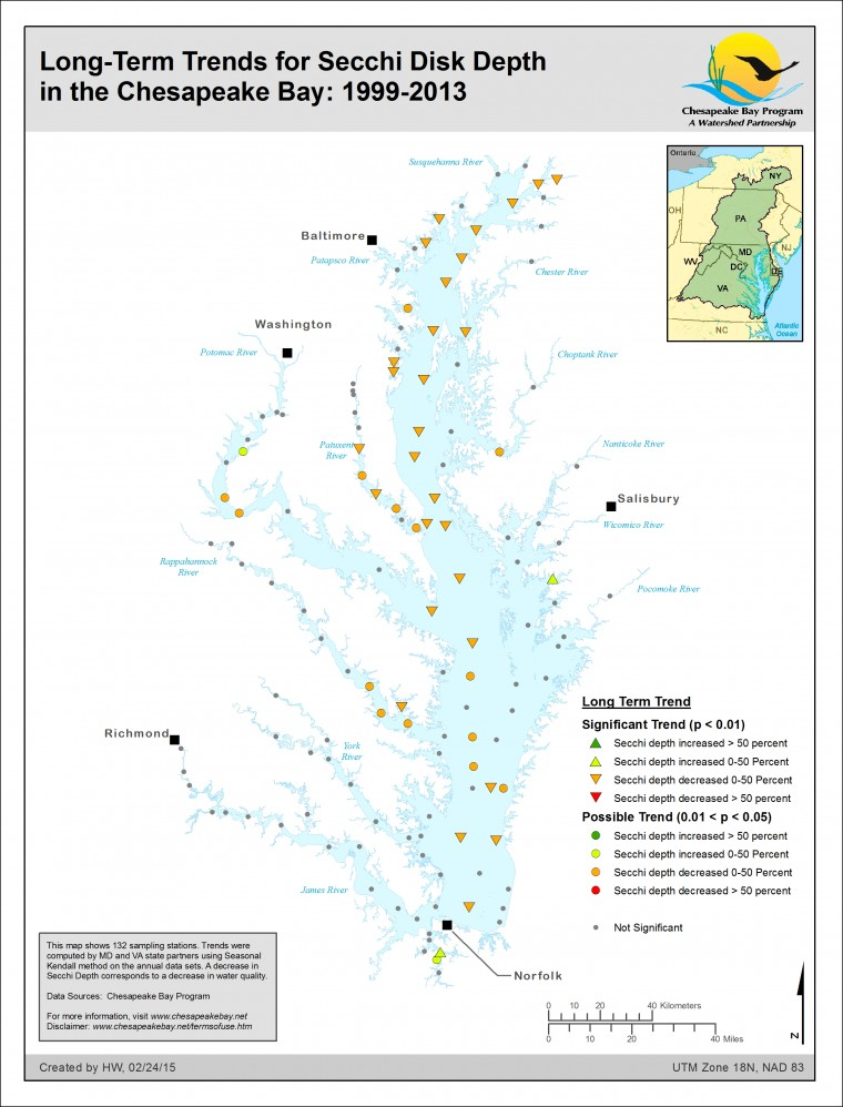 Long-Term Trends for Secchi Disc Depth in the Chesapeake Bay: 1999-2013