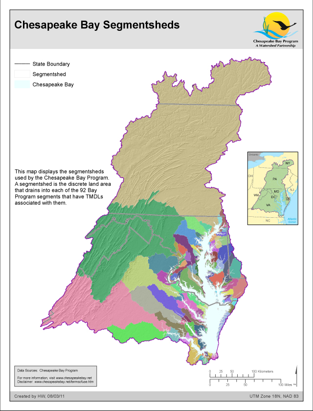 <strong>Chesapeake Bay Segmentsheds</strong><br />This map displays the segmentsheds used by the Chesapeake Bay Program.  A segmentshed is the discrete land area that drains into each of the 92 Bay Program segments (see map of Chesapeake Bay Segmentation Scheme) that have TMDLs associated with them.