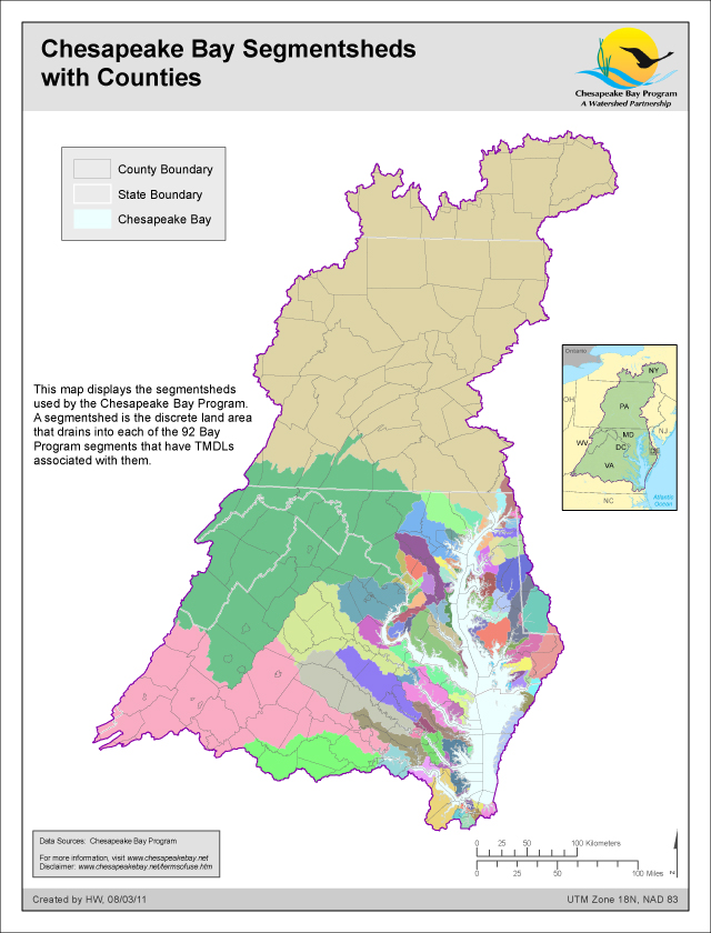 Chesapeake Bay Segmentsheds with Counties