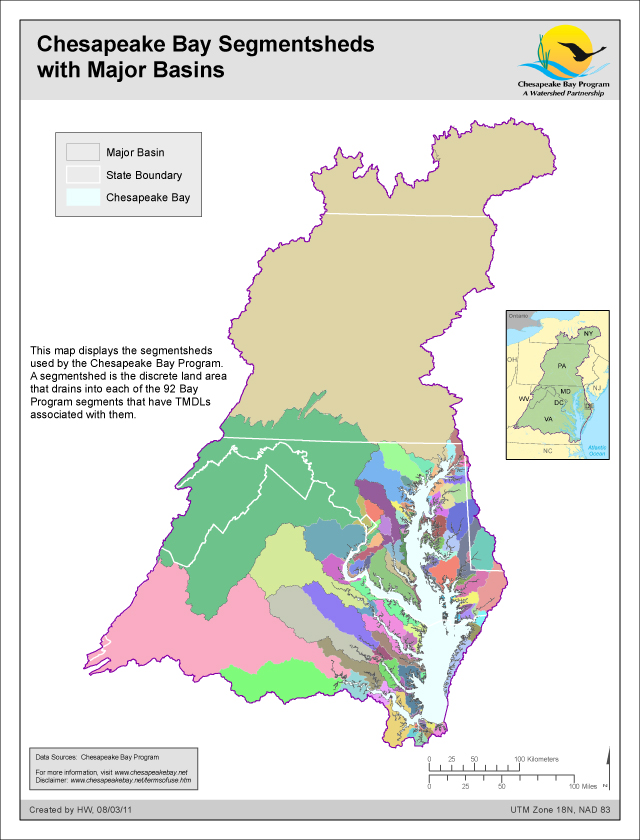 Chesapeake Bay Segmentsheds with Major Basins