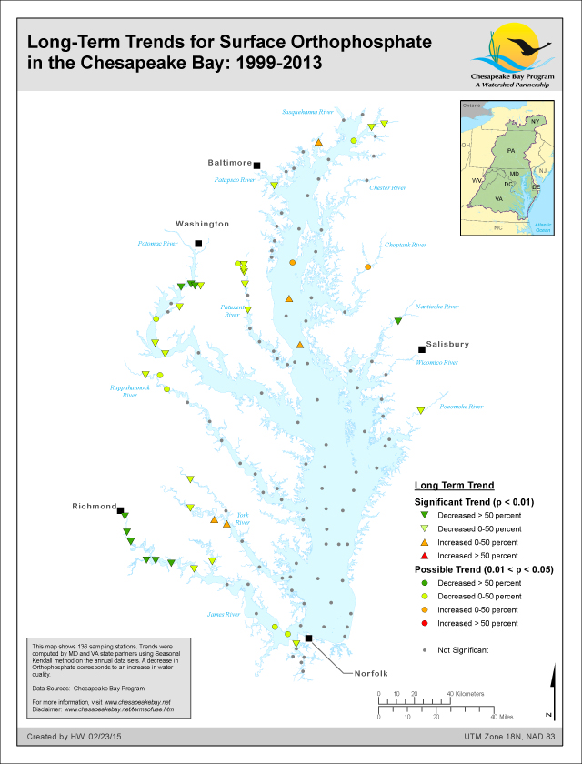 Long-Term Trends for Surface Orthophosphate in the Chesapeake Bay: 1999-2013