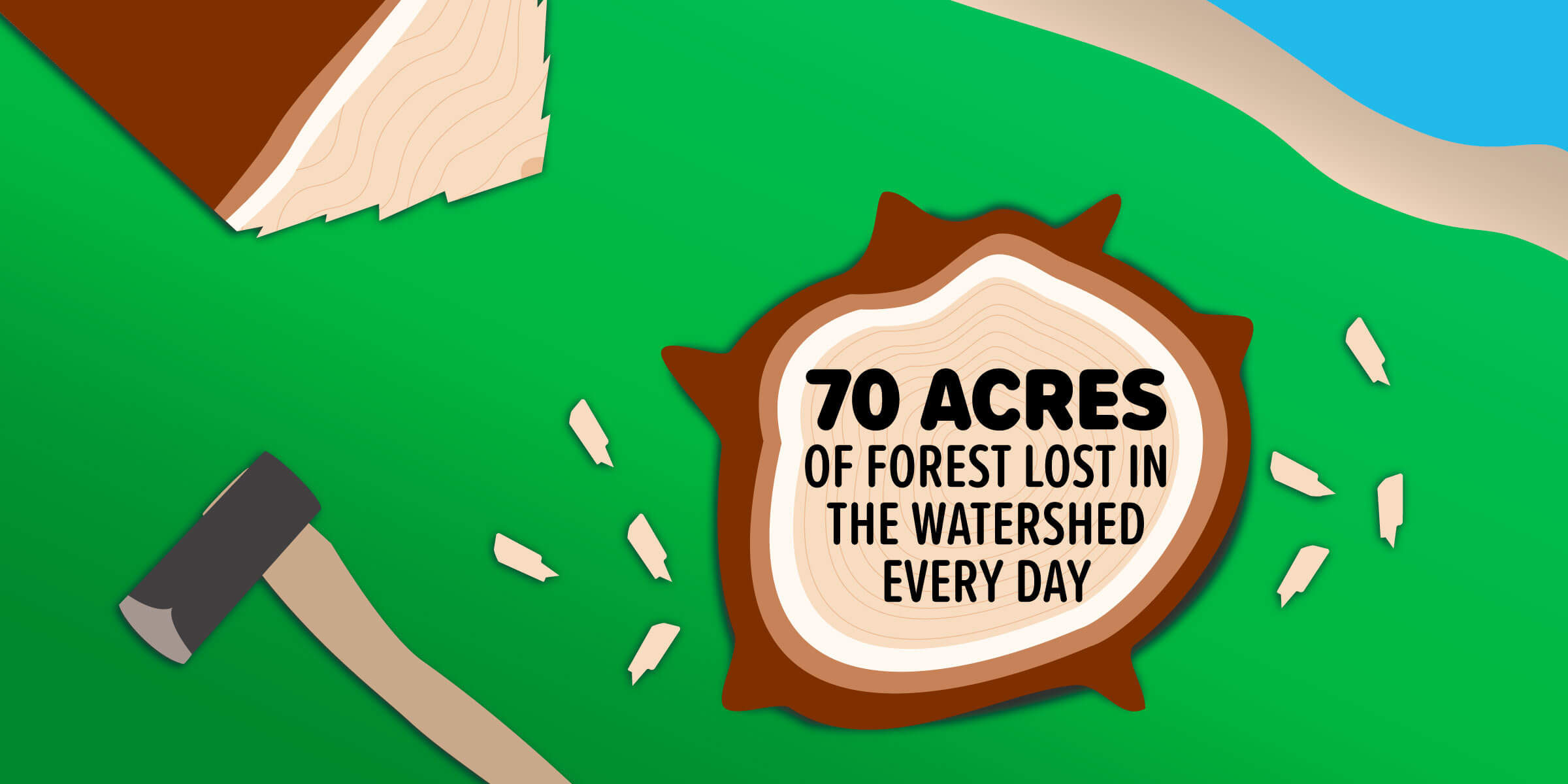 The watershed loses an estimated 70 acres of forest land every day.