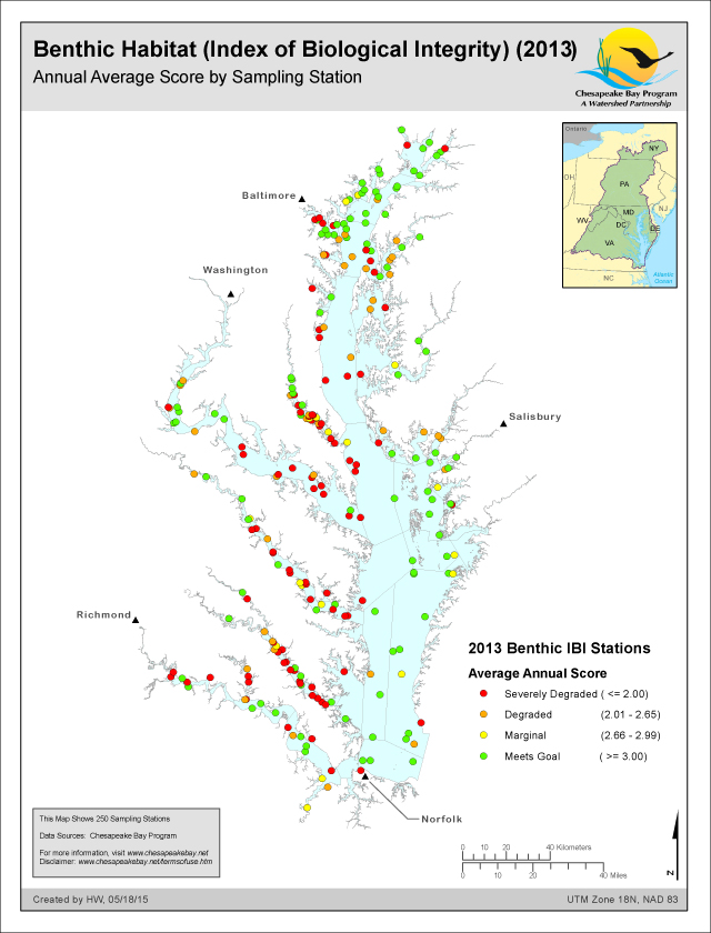 Benthic Habitat (Index of Biological Integrity) (2013) Annual Average Score by Sampling Station