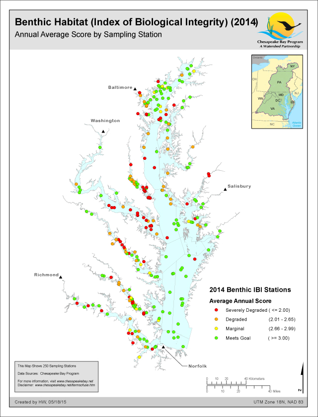 Benthic Habitat (Index of Biological Integrity) (2014) Annual Average Score by Sampling Station