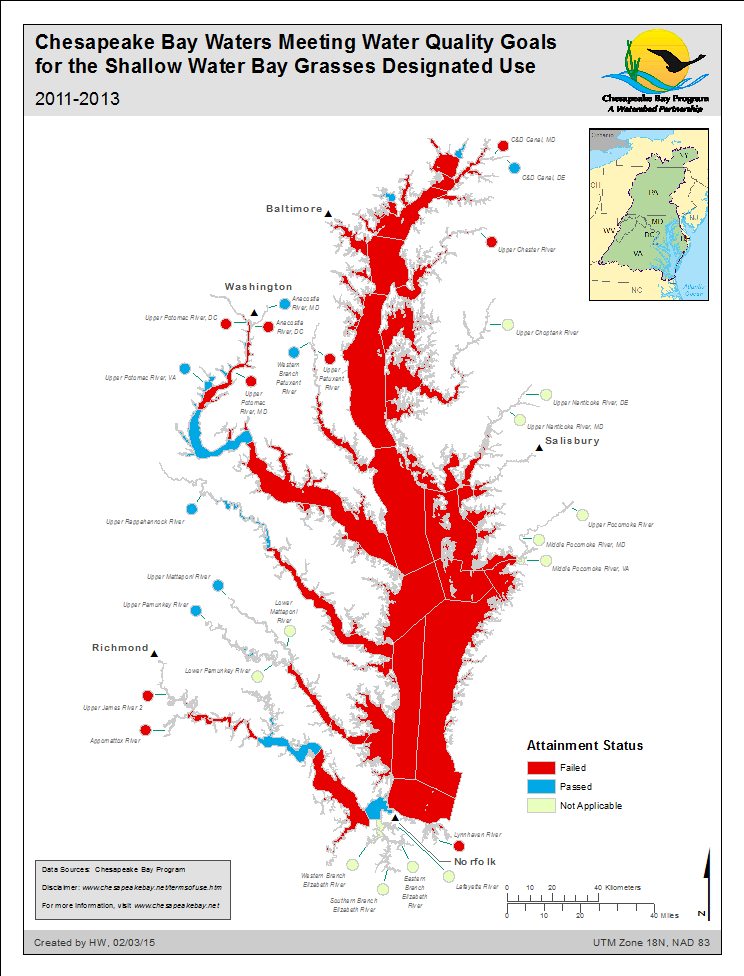 Chesapeake Bay Waters Meeting WQ Goals for the Shallow Water Bay Grasses Designated Use 2011-2013