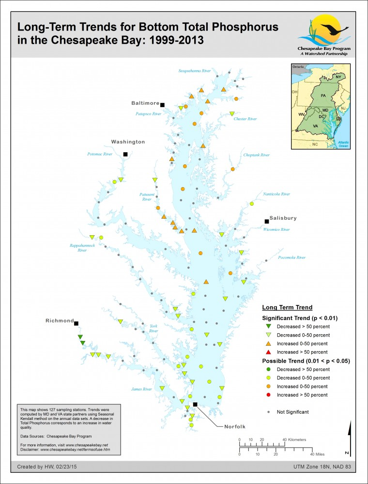 Long-Term Trends for Bottom Total Phosphorus in the Chesapeake Bay: 1999-2013
