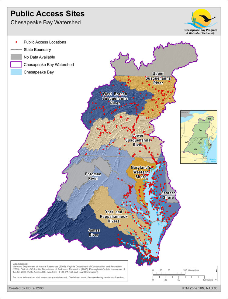 Map public access sites chesapeake bay program for Chesapeake bay fishing map