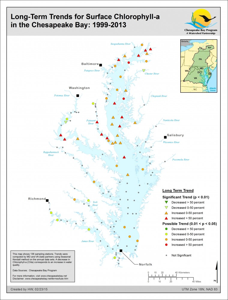 Long-Term Trends for Surface Chlorophyll-a in the Chesapeake Bay: 1999-2013