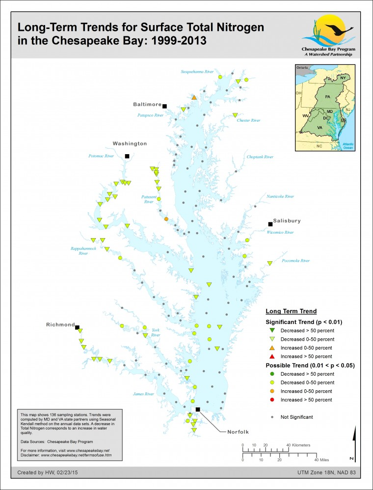 Long-Term Trends for Surface Total Nitrogen in the Chesapeake Bay: 1999-2013